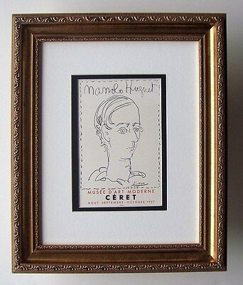 "Lovely Pablo PICASSO Antique Exhibition Poster ""Manolo Hugnet"" Framed SIGNED COA"