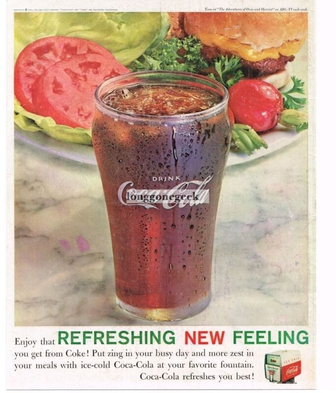 1961 COCA-COLA COKE with Hamburger Platter Vintage Ad