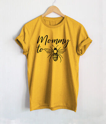Mommy To Bee T-Shirt Pregnancy Announcement Shirts Mustard Yellow Gift Tees