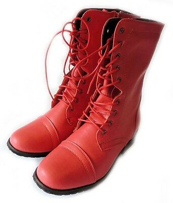 NEW FASHION WOMENS SHOE MILITARY COMBAT BOOTS LACE UP ZIPPER ALICE - 07/HOT PINK