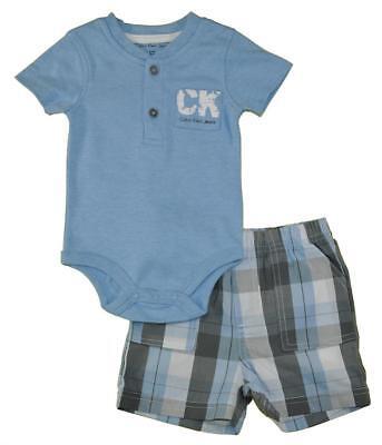 Calvin Klein Infant Boys Baby Blue Bodysuit 2pc Short Set Si