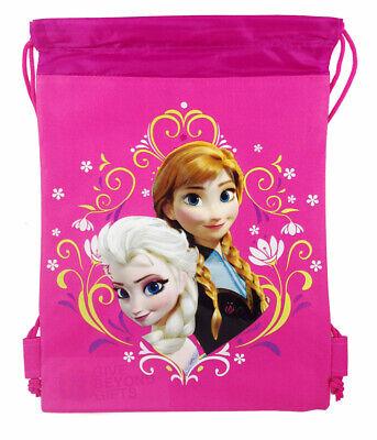 Disney Frozen Ana Elsa Drawstring Theme Park Tote Bag Backpack Gym Bag Pink](Frozen Ana)
