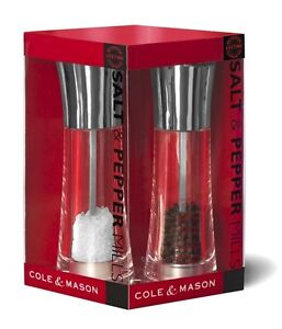 Cole & Mason Acrylic Chrome Billy Diamond Salt and Pepper Mills Gift Set Grinder