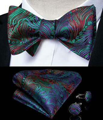 Purple Bow Tie (USA Men Silk Novelty Self Bow Tie Set Purple Red Bowtie Pocket Square)