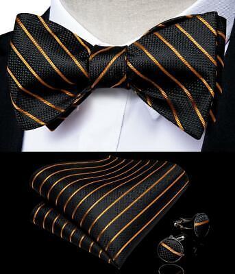 Mens Silk Black Gold Self Bow Tie Set Striped Necktie Bowtie Hanky Cufflinks -