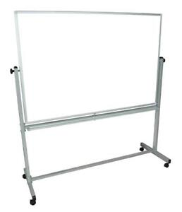 """NEW Luxor 60 x 40"""" Reversible Magnetic Mobile Whiteboard with Aluminum Frame Condition: New, dented, missing box 2 of..."""