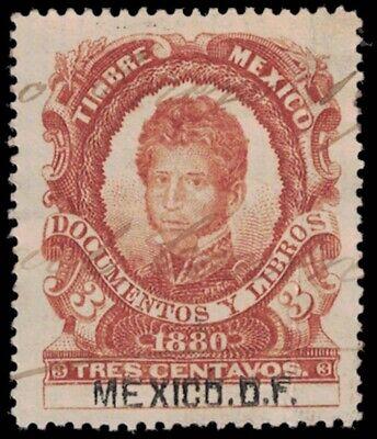 1880 MEXICO Revenue Stamp - Mexico City, 3 Centavos A18J