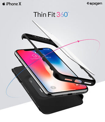 Genuine Spigen Thin Fit 360 Full Cover Protection Phone Case Cover for iPhone X