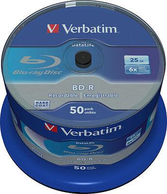 50 Verbatim Rohlinge Blu-ray BD-R 25GB 6x Spindel