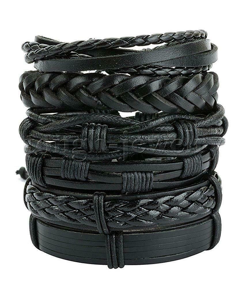 6Pcs Black Braided Leather Bracelet for Men Women Cuff Bangl
