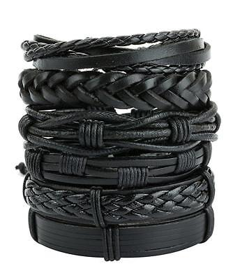 6pcs Black Braided Leather Bracelet for Men Women Cuff Wrap Wristband Set Gift - Black Gift Wrap