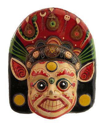 Mask Ethnic of Ritual Nepalese Paper Mache POLYCHROME-DIVINITE-3779