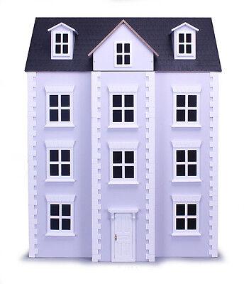 Three Storey Georgian Lilac Dolls House Collectors Wood Kit Form