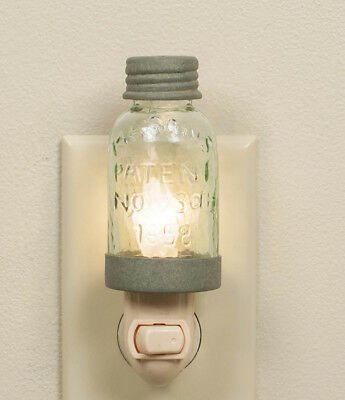 Mason Jar Barn Roof Gray Night Light  Metal On/Off Switch Farmhouse Kitchen
