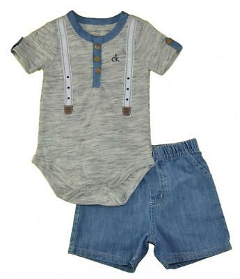 Calvin Klein Infant Boys Gray Bodysuit 2pc Short Set Size 3/