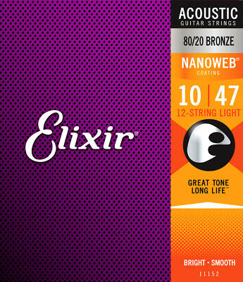 Elixir Strings Acoustic Guitar Strings, 12-String, Light NAN