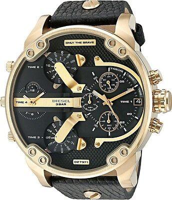 Diesel Mr Daddy 2.0 Oversized Gold Tone Black Leather Men Watch DZ7371 New Orig