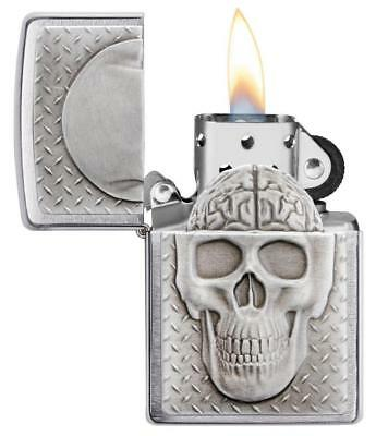 Zippo Windproof Emblem Skull Lighter With Brain Surprise, 29818, New In Box