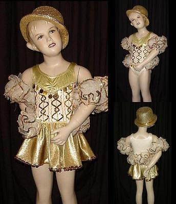 Dames Dance Costume Leotard, Skirt, Arm Ruffles Clearance Child X-Small
