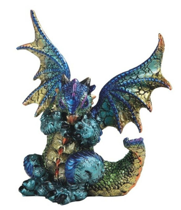 Purple and Green Dragon Covering Mouth Medieval Fantasy Figurine Decoration New