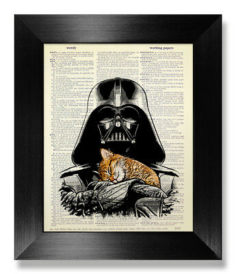 Star Wars Darth Vader Wall Art Funny Cat Poster Dictionary Print Boyfriend Gift