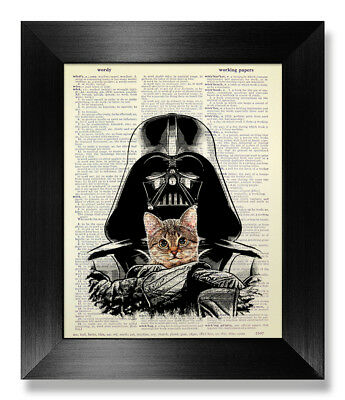 Star Wars Poster Tabby Cat Wall Art Gift Darth Vader Print Movie Room Home Decor