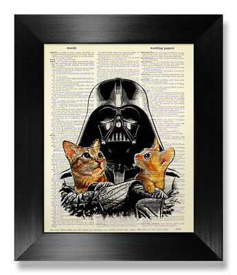 Star Wars Wall Art Darth Vader Poster Tabby Cat Lover Gift Vintage Book Page Art