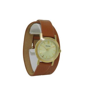 Bulova 97L135 Women's Double Wrap Camel Leather Band Roman Numeral Analog Watch