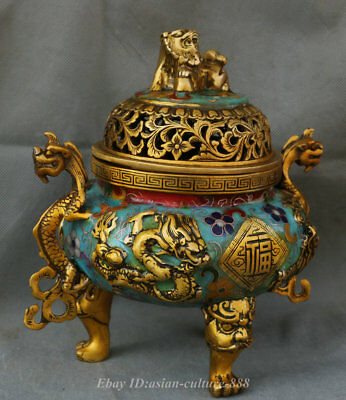 "8/"" Chinese Dynasty Bronze Cloisonne Enamel Dragon Fu Shou Incense Burner Censer"