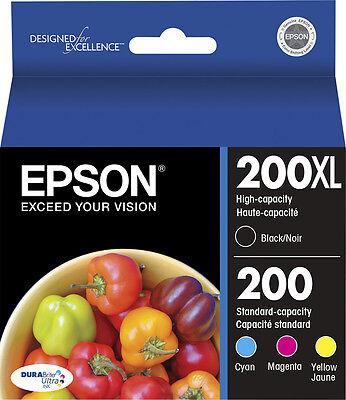 Epson Genuine 4-Pack 200XL Black & 200 Color Ink WORKFORCE 2530