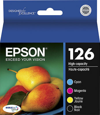 Epson Genuine 126 Black, Cyan, Magenta, Yellow Set of 4 Ink Cartridges NO BOX