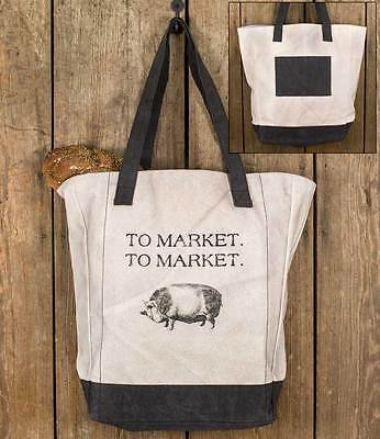 Primitive Farmhouse Chic To Market Pig Canvas Grocery Tot...