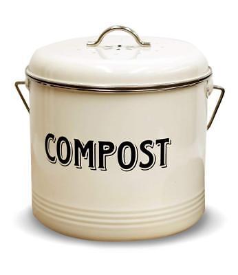 Kitchen Compost Bin - BRAND NEW Compost Bin + 7 Filters: Vintage Cream 1.3-Gallon Indoor Kitchen Steel