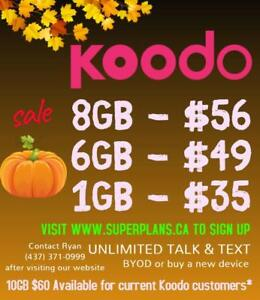 8GB $56/mo or 6GB $49/mo - Reduced Setup Fee - KOODO Canada-wide Phone Plan - 1/2/6/8/10 GB Ryan www.SuperPlans.ca