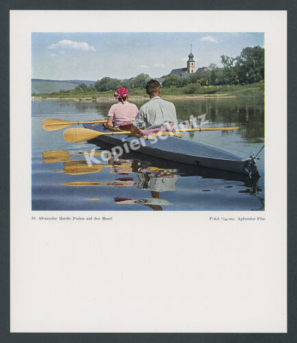 Foto Agfacolor Faltboot Klepper Wasserwandern Mosel Brauneberg Bernkastel 1938