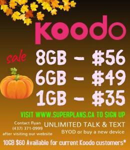 8GB $56/mo or 6GB $49/mo - Reduced Setup Fee - KOODO Canada-wide Phone Plan - 1/2/6/8/10 GB Ryan www.SuperPlans.ca