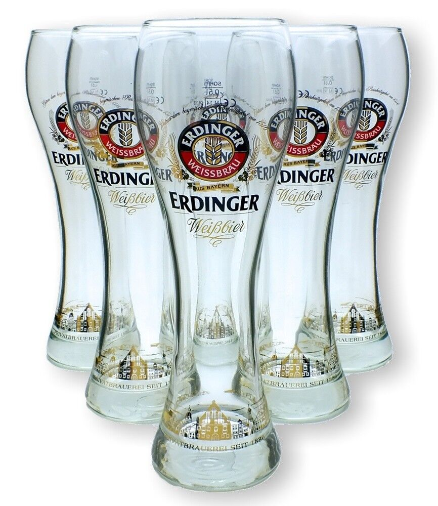 6 Erdinger Weissbier Gläser 0,5l Exclusiv Edition - Weizenbier - Glas