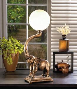 TRUMPETING ELEPHANT GLOBE TABLE LAMP SAFARI DECOR NEW~10017184