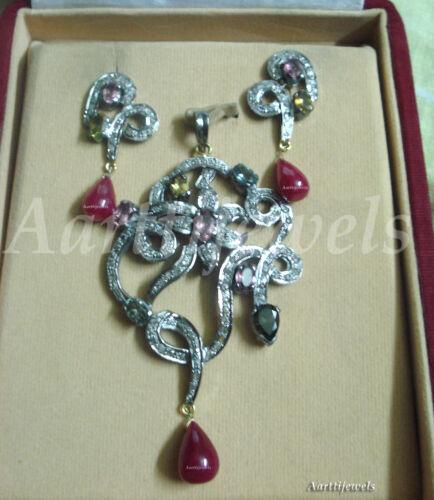 Victorian 2.82ct Rose Cut Diamond Ruby Gemstones Women