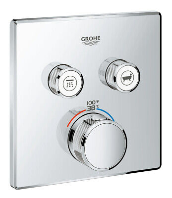 Grohe 29 141 SmartControl Dual Function Thermostatic Valve Trim - Chrome Dual Thermostatic Valve