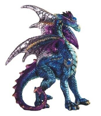 Blue and Purple Dragon Statue Figurine Mythical Fantasy Collectible Statuette