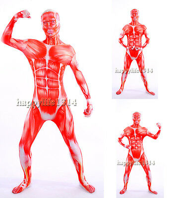 Skeleton Muscle Man Halloween Zentai Skin Costume Party Catsuit Bodysuit](Muscle Skin Suit Halloween)