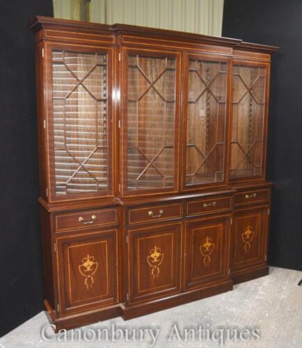 Regency Breakfront Bookcase Mahogany Sheraton Inlay