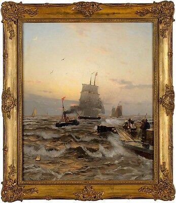 Original Bild Öl/ Lwd./doubl., Petersen-Angeln, Heinrich, Auf der Mole, signiert