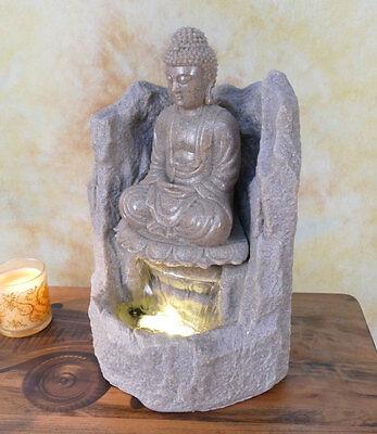 Zimmerbrunnen Springbrunnen Wasserwand Tischbrunnen LED Kaskade Buddha  DW05-b (Springbrunnen Buddha Wasser)