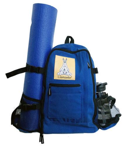 ***WHOLESALE LOT*** Canvas Yoga Knapsack with Mat Carrier - Blue
