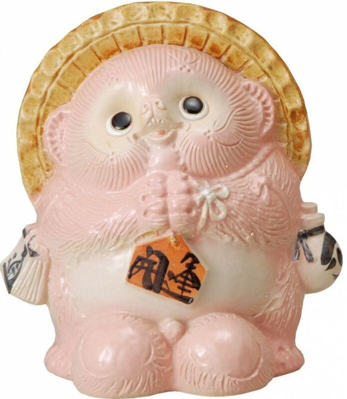 Tanuki Shigaraki yaki Japan Chinese Racoon Dog Pink Cute Onegai Praying 8.85in