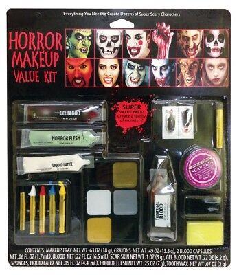 Halloween Schminkset Vampir Zombie Blut Schminke Wunden Make-up Zähne Kunstblut ()