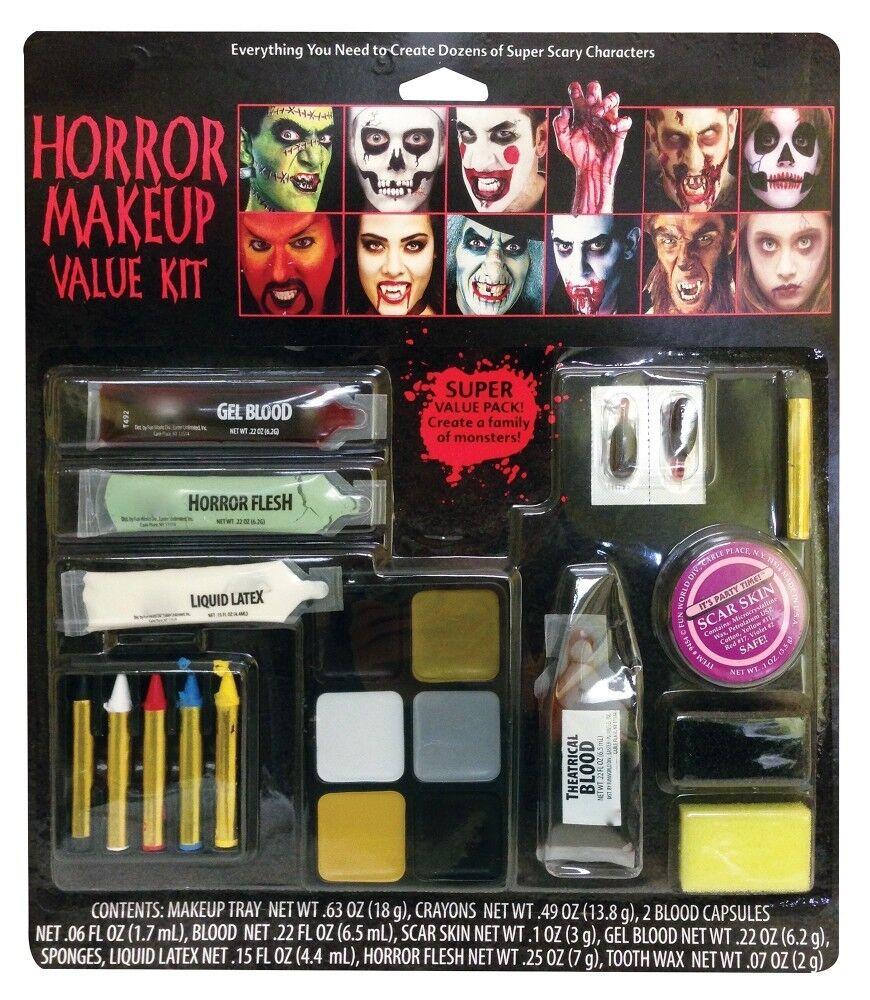 Halloween Schminkset Vampir Zombie Blut Schminke Wunden Make-up Zähne Kunstblut