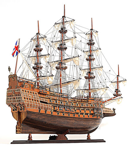 "HMS Sovereign of the Seas 1637 Wooden Tall Ship Model 29"" Fully Built Warship"